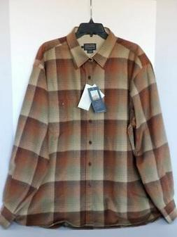 PENDLETON WOOLEN MILLS MEN'S VIRGIN WOOL BROWN PLAID FLANNEL