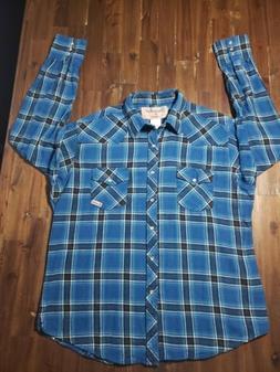 Wrangler Wrancher Men's Blue Plaid Pearl Snap Button Down Fl