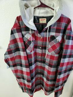 Wrangler Mens Jacket, Hooded, Flannel, Lightweight, Quilted