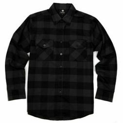 Yago Flannel Long Sleeve Shirt Charcoal Black YG2508-A3