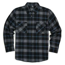 Yago Men's Flannel Long Sleeve Shirt Charcoal / Black / Blue