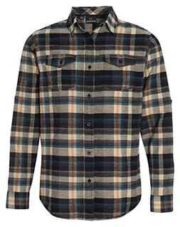 Burnside Yarn-Dyed Long Sleeve Flannel Shirt, Dark Khaki, XX