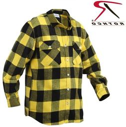 Yellow Plaid Men's Heavyweight Brawny Buffalo Plaid Flannel
