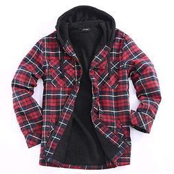 Golden Tree Men Full Zip Hoodie Flannel Jacket Sherpa Lined